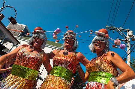 Low Angle of People in Costume at Annual Carnival Parade, Provincetown, Cape Cod, Massachusetts, USA Stock Photo - Rights-Managed, Code: 700-06431233