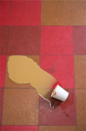 spill - Paper Cup with Lipstick on Rim and Spilled Coffee on Checkered Tile Floor Stock Photo - Rights-Managed, Code: 700-06431317
