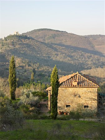 stone house with tile roof, cypress trees, hills in background, Gello Civitella, Civitella in Val di Chiana, Tuscany, Italy Stock Photo - Rights-Managed, Code: 700-06452088