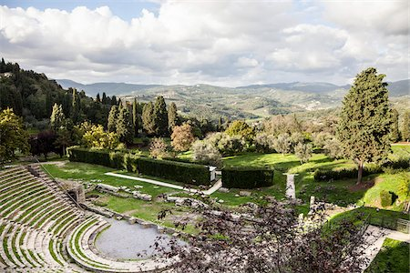 Overview of Roman Amphitheater, Fiesole, Tuscany, Italy Stock Photo - Rights-Managed, Code: 700-06465399