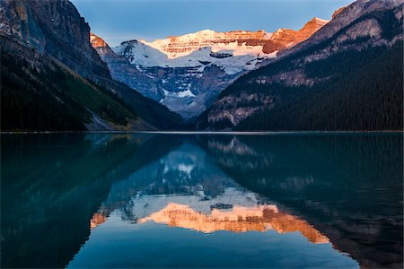 Lake Louise at Sunrise, Banff National Park, Alberta, Canada Stock Photo - Rights-Managed, Code: 700-06465421