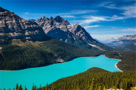 Overview of Peyto Lake as seen from Bow Summit, Banff National Park, Alberta, Canada Stock Photo - Rights-Managed, Code: 700-06465436