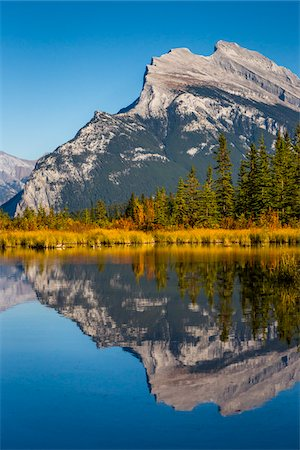 Reflection of Mount Rundle in Vermilion Lakes, near Banff, Banff National Park, Alberta, Canada Stock Photo - Rights-Managed, Code: 700-06465466