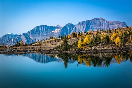 fall trees lake - Rock Isle Lake with Autumn Larch and Mountain Range in Background, Mount Assiniboine Provincial Park, British Columbia, Canada Stock Photo - Rights-Managed, Code: 700-06465477