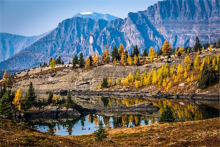 Rock Isle Lake in Autumn with Mountain Range in Background, Mount Assiniboine Provincial Park, British Columbia, Canada Stock Photo - Rights-Managed, Code: 700-06465480
