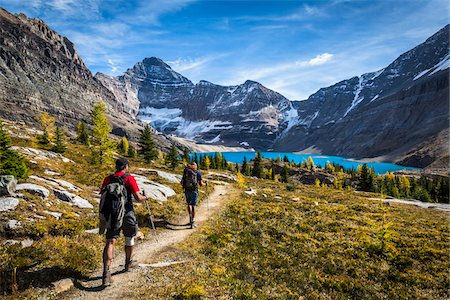 rear - People Hiking on Trail at McArthur Lake, Yoho National Park, British Columbia, Canada Stock Photo - Rights-Managed, Code: 700-06465536