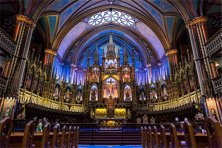 Altar in Notre-Dame Basilica, Montreal, Quebec, Canada Stock Photo - Rights-Managed, Code: 700-06465560