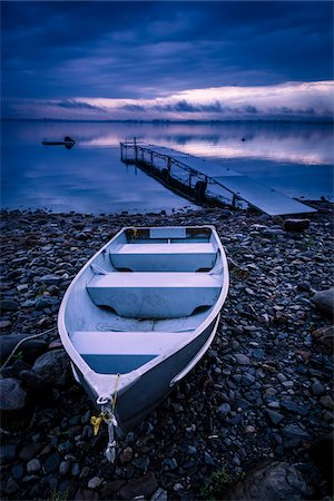 Rowboat on Rocky Shore near Dock, King Bay, Point Au Fer, Champlain, New York State, USA Stock Photo - Rights-Managed, Code: 700-06465571