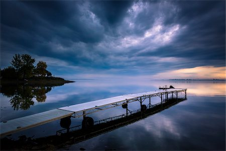 Storm Clouds and Dock, King Bay, Point Au Fer, Champlain, New York State, USA Stock Photo - Rights-Managed, Code: 700-06465573