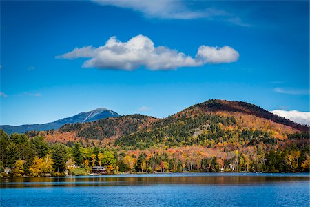 Lake Placid and Adirondack Mountains in Autumn, Essex County, New York State, USA Stock Photo - Rights-Managed, Code: 700-06465591