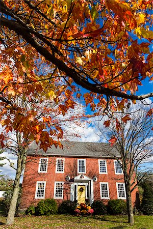 Red Brick House in Autumn, Cambridge, Lamoille County, Vermont, USA Stock Photo - Rights-Managed, Code: 700-06465605