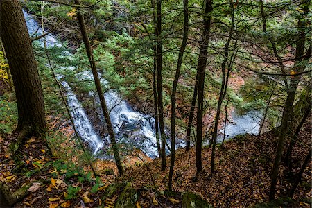 High Angle View of Waterfall and River Through Evergreen Trees, Moss Glen Falls Natural Area, C.C. Putnam State Forest, Lamoille County, Vermont, USA Stock Photo - Rights-Managed, Code: 700-06465640