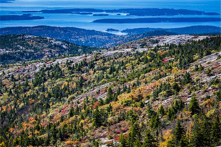 View of Acadia National Park from Cadillac Mountain, Mount Desert Island, Hancock County, Maine, USA Stock Photo - Rights-Managed, Code: 700-06465701