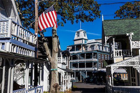 Wesley Hotel and Cottages, Wesleyan Grove Historical Area, Oak Bluffs, Martha's Vineyard, Massachusetts, USA Stock Photo - Rights-Managed, Code: 700-06465746
