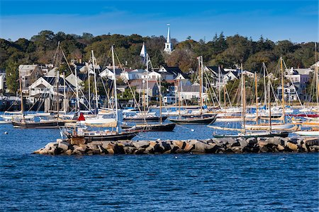 Sailboats in Marina with Town in Background, Vineyard Haven, Tisbury, Martha's Vineyard, Massachusetts, USA Stock Photo - Rights-Managed, Code: 700-06465742