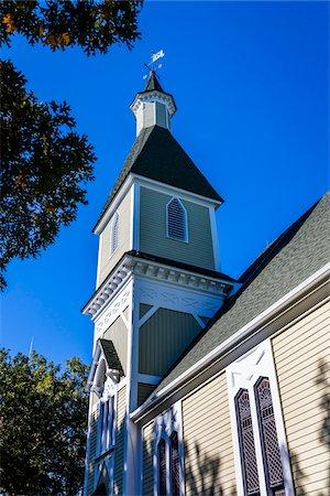 Low Angle of Trinity United Methodist Church, Camp Meeting Association Historical Area, Oak Bluffs, Martha's Vineyard, Massachusetts, USA Stock Photo - Rights-Managed, Code: 700-06465754
