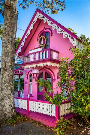 quirky - Bright Pink House, Wesleyan Grove, Camp Meeting Association Historical Area, Oak Bluffs, Martha's Vineyard, Massachusetts, USA Stock Photo - Rights-Managed, Code: 700-06465756