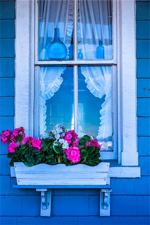 Close-Up of Blue House with Pink Flowers in Window Planter, Wesleyan Grove, Camp Meeting Association Historical Area, Oak Bluffs, Martha's Vineyard, Massachusetts, USA Stock Photo - Rights-Managed, Code: 700-06465766