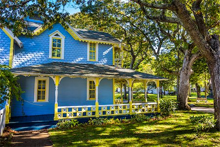 Exterior of Blue and Yellow House, Wesleyan Grove, Camp Meeting Association Historical Area, Oak Bluffs, Martha's Vineyard, Massachusetts, USA Stock Photo - Rights-Managed, Code: 700-06465760