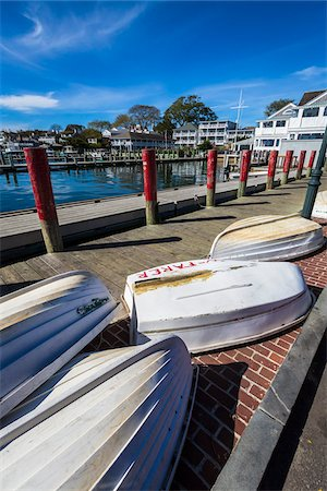 quaint - Upside Down Rowboats on Waterfront Dock, Edgartown, Dukes County, Martha's Vineyard, Massachusetts, USA Stock Photo - Rights-Managed, Code: 700-06465774