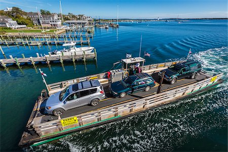 Aerial View of Car Ferry Approaching Dock, Edgartown, Dukes County, Martha's Vineyard, Massachusetts, USA Stock Photo - Rights-Managed, Code: 700-06465778