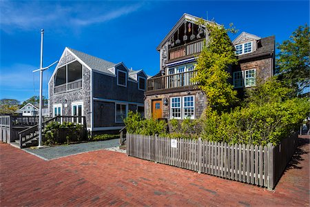 Coastal Cottage Homes, Edgartown, Dukes County, Martha's Vineyard, Massachusetts, USA Stock Photo - Rights-Managed, Code: 700-06465779