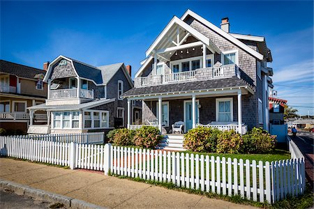 residential - Houses with White Picket Fences, Oak Bluffs, Dukes County, Martha's Vineyard, Massachusetts, USA Stock Photo - Rights-Managed, Code: 700-06465772
