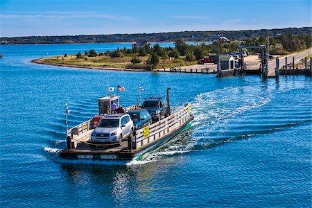Car Ferry Moving Cars Across Water, Edgartown, Dukes County, Martha's Vineyard, Massachusetts, USA Stock Photo - Rights-Managed, Code: 700-06465782