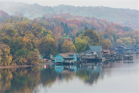 fall trees lake - Waterfront Homes on Lake Seneca in Fog, Watkins Glen, Schuyler County, New York State, USA Stock Photo - Rights-Managed, Code: 700-06465838