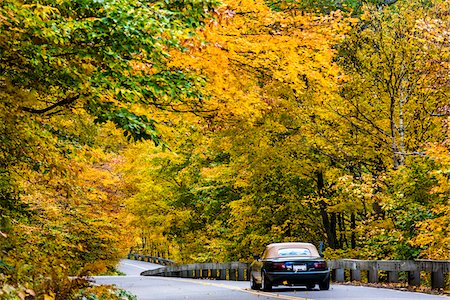 rear - Car Driving on Country Road in Autumn, Smugglers Notch, Lamoille County, Vermont, USA Stock Photo - Rights-Managed, Code: 700-06465850