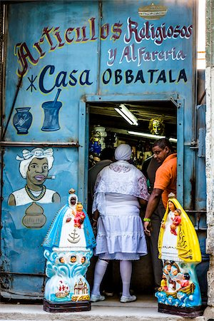 decorative - Customers in Entrance of Store Selling Religious Artifacts, Havana, Cuba Stock Photo - Rights-Managed, Code: 700-06465907