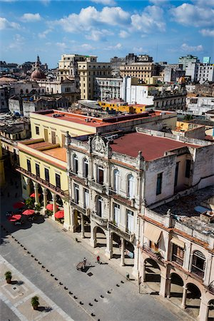 square - High Angle View of Buildings in Plaza Vieja with City Extending into the Distance, Havana, Cuba Stock Photo - Rights-Managed, Code: 700-06465909