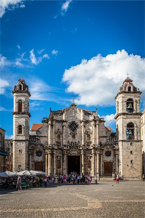 Tour Group in front of Cathedral of Havana, Plaza de la Catedral, Havana, Cuba Stock Photo - Rights-Managed, Code: 700-06465925