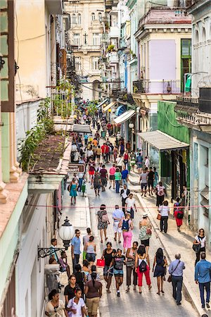 street - Overview of Shoppers along Obispo Street, Havana, Cuba Stock Photo - Rights-Managed, Code: 700-06465940