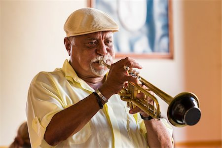 entertainment - Close-Up of Trumpet Player, Trinidad, Cuba Stock Photo - Rights-Managed, Code: 700-06465989