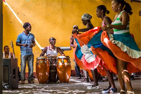 entertainment - Afro Cuban Musicians and Dancers at Palenque de los Congos Reales, Trinidad, Cuba Stock Photo - Rights-Managed, Code: 700-06465990