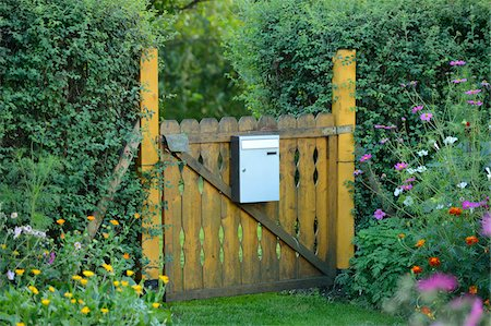 quaint - Gate with Mailbox in Small Private Garden, Bavaria, Germany Stock Photo - Rights-Managed, Code: 700-06486499