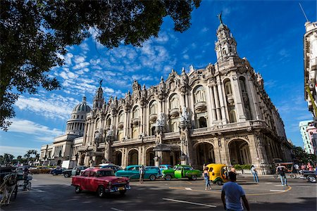 entertainment - Classic Cars and Traffic in front of Great Theatre of Havana (Gran Teatro de La Habana), Havana, Cuba Stock Photo - Rights-Managed, Code: 700-06486566
