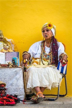 Senora Habana, a fortune teller in Plaza de la Catedral, Havana, Cuba Stock Photo - Rights-Managed, Code: 700-06486573