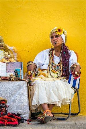 Senora Habana, a fortune teller in Plaza de la Catedral, Havana, Cuba Stock Photo - Rights-Managed, Code: 700-06486573