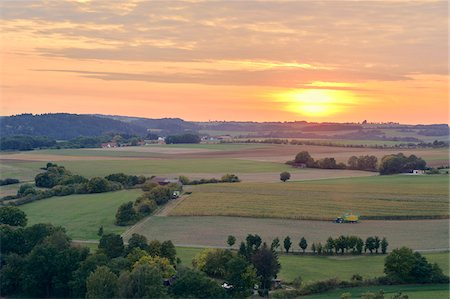 Overview of Farm Fields at Sunset, Schanzberg, Upper Palatinate, Bavaria, Germany Stock Photo - Rights-Managed, Code: 700-06486595