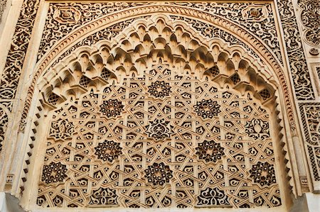 design (motif, artistic composition or finished product) - Detail of Intricate Architectural Carvings, Bahia Palace, Medina, Marrakesh, Morocco, Africa Stock Photo - Rights-Managed, Code: 700-06505749