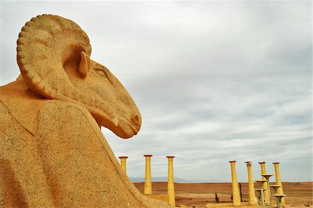 Close-Up of Stone Ram on Movie Set at Atlas Studios, Ouarzazate, Morocco, Africa Stock Photo - Rights-Managed, Code: 700-06505757
