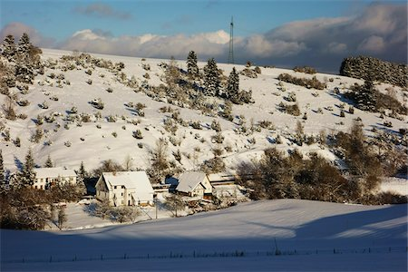 european hillside town - Overview of Homes and Hillside in Winter, near Villingen-Schwenningen, Baden-Wuerttemberg, Germany Stock Photo - Rights-Managed, Code: 700-06505775