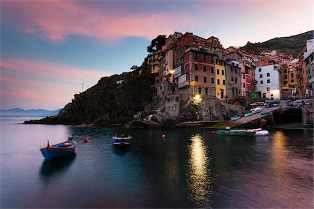 Clifftop village of Riomaggiore at dawn, Cinque Terre National Park, UNESCO World Heritage Site, Liguria, Italy Stock Photo - Rights-Managed, Code: 700-06512718