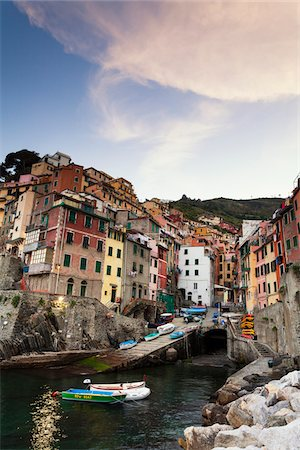Clifftop village of Riomaggiore at dawn, Cinque Terre National Park, UNESCO World Heritage Site, Liguria, Italy Stock Photo - Rights-Managed, Code: 700-06512719