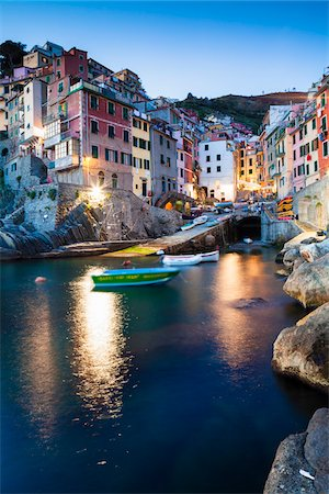 Clifftop village of Riomaggiore at dusk, Cinque Terre National Park, UNESCO World Heritage Site, Liguria, Italy Stock Photo - Rights-Managed, Code: 700-06512722