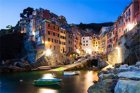 Clifftop village of Riomaggiore at dusk, Cinque Terre National Park, UNESCO World Heritage Site, Liguria, Italy Stock Photo - Rights-Managed, Code: 700-06512723