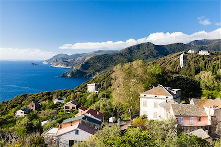 Small village along the route on Cap Corse, Corsica, France Stock Photo - Rights-Managed, Code: 700-06512739