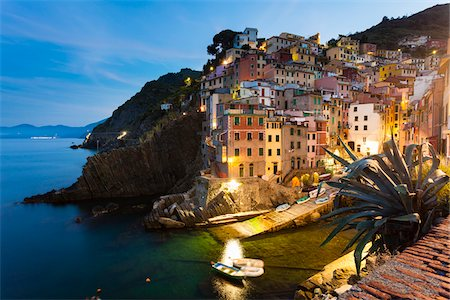 Clifftop village of Riomaggiore at dawn, Cinque Terre National Park, UNESCO World Heritage Site, Liguria, Italy Stock Photo - Rights-Managed, Code: 700-06512755